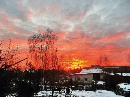 Andruszkowice.Zachód słońca nad wioską. Wiosna 2014 rok.