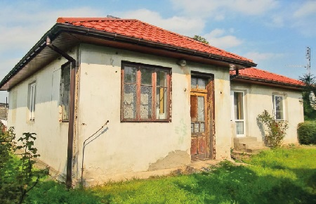 Jachimowice.Budynek byłej stacji kolejki wąskotorowej z1954 roku.